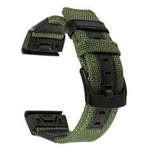 Garmin Fenix 5X / 3 / 3HR 용 26mm 정품 나일론 + 가죽 손목 밴드 Quick Easy Fit Watch 밴드 스테인레스 스틸 걸쇠 손목 스트랩
