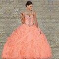 Frete Grátis Coral Pêssego Vestidos Quinceanera vestido de Baile 2016 Querida Ruched Corpete Longo Ruched Frisado Plissado Vestido de 15 Anos
