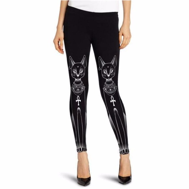 Summer Style Leggings For Women's Cute Black White Cat Digital Printing Elasticity Pants Sweatpants Plus size Jeggings Leggins