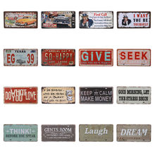 American Vintage Home Decor Tin Sign USA Car Plate Nevada Metal License Plaque Oregon Wall Art Number Poster Texas 15X30CM C25(China)