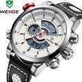 Модные спортивные мужские наручные часы WEIDE  роскошные часы от известного бренда с кожаным ремешком из искусственной кожи  водонепроницаем...