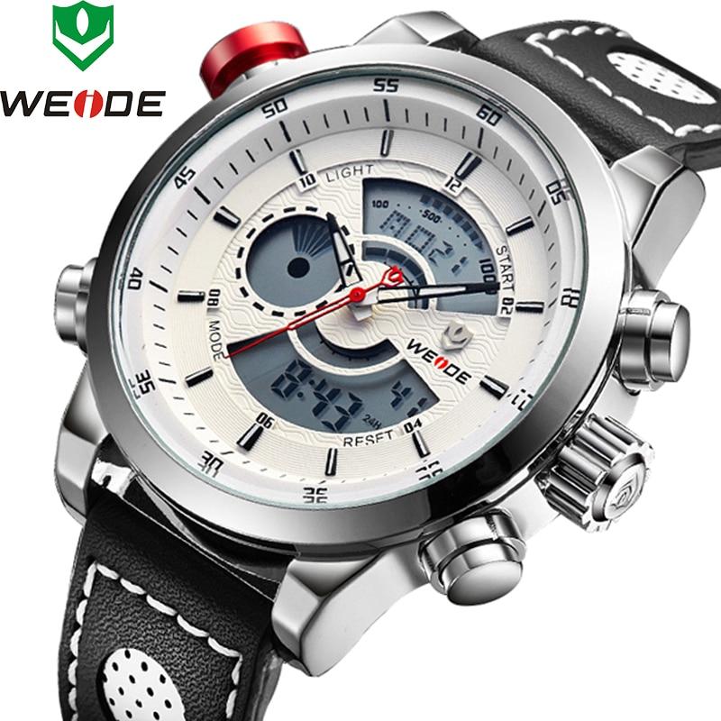 цена на WEIDE Sport Men Fashion Wristwatches Luxury Famous Brand Men's Leather PU Strap Watch 30m Waterproof Casual Sports Watches