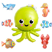 7pcs/lot Large Marine Animal Balloons Foil mini Fish Balloon Birthday Party Decorations Kids Inflatable Toys Childrens Day Ball