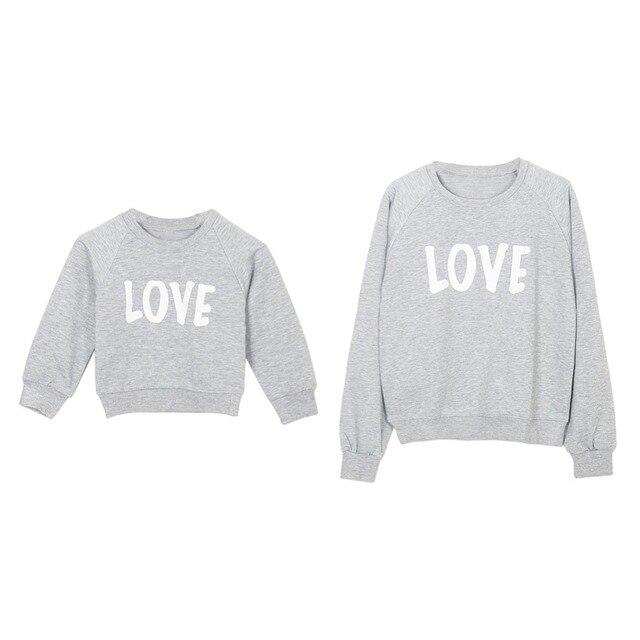 Sweat-shirt à manches longues   Printemps, automne, bébé garçon fille, en coton, avec lettres imprimées, pour maman, assorti à la famille