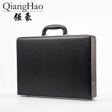 Роскошный кожаный мужской портфель, расширяемый чехол для ноутбука с паролем, многофункциональный набор инструментов, Модный чехол для костюма, черный