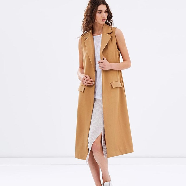 The new European and American fashion simple wild pocket suit sleeveless jacket