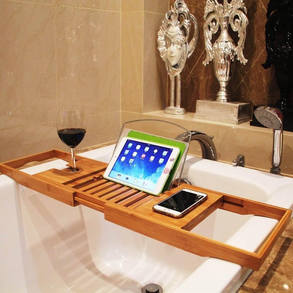 Book Smartphone Shelf Home Bathroom Storage Rack Wooden Adjule Bath Tub Shower Tray Holder Sundries Organizer