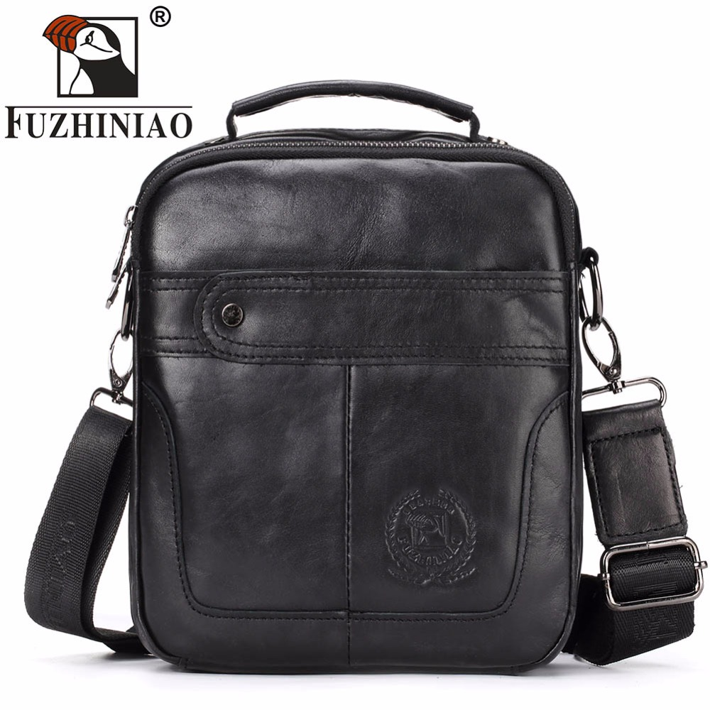 FUZHINIAO Fashion Men Tote Casual Genuine Cowhide Leather Messenger Bag High Quality Ipad Pack Shoulder Handbags Crossbody Bags fashion women bags 100% first layer of cowhide genuine leather women bag messenger crossbody shoulder handbags tote high quality