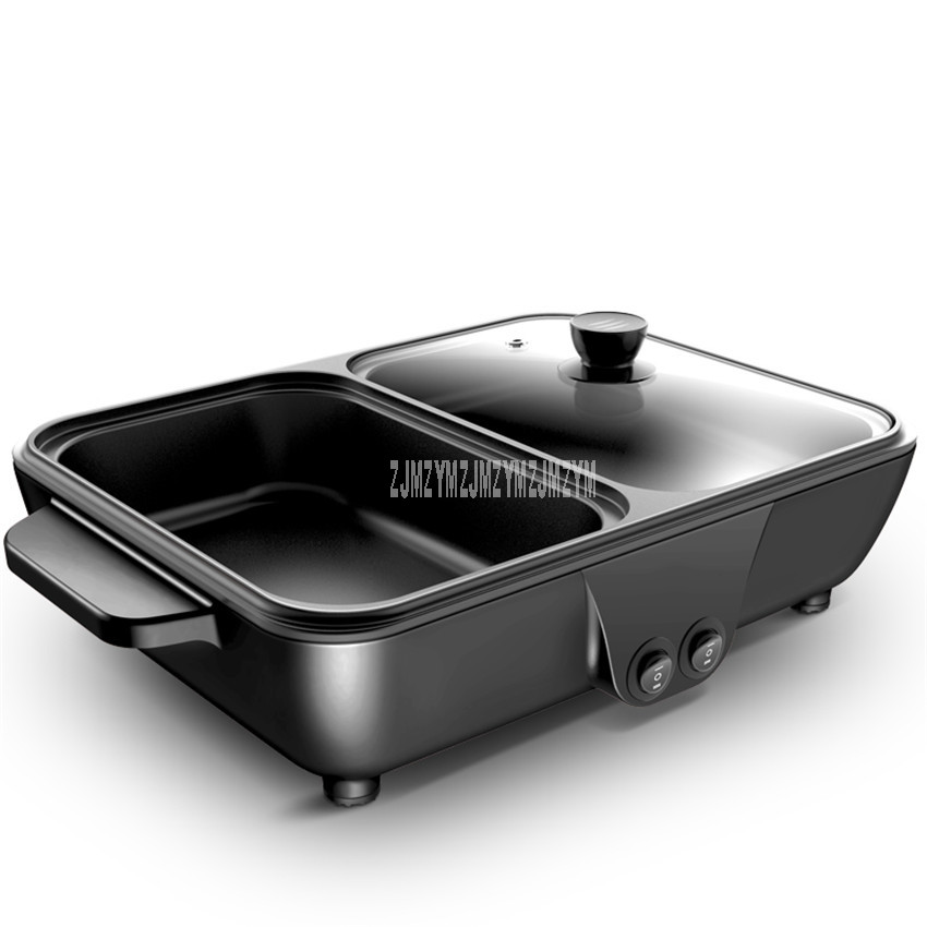 AR-25 2in1 Hot Pot Cooking + Roasting Grill Tray Household Multi Cooker 2 Gear Non-stick Electric Hotpot Cooking Machine 220V