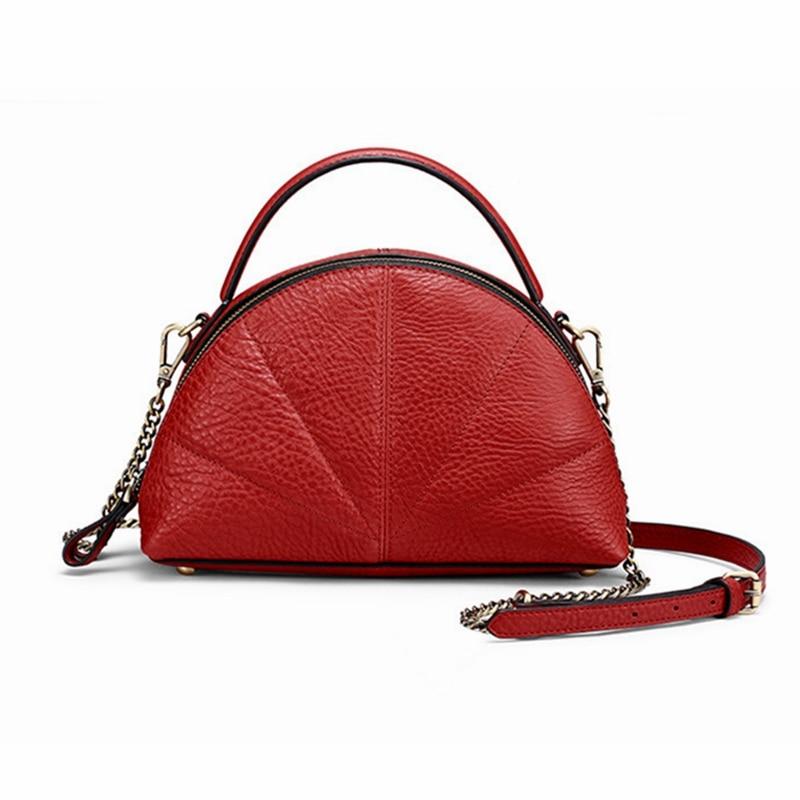 100% Genuine Leather Women Handbag Fashion Solid Hobos Women Bag Top-Handle Tote High Quality Lady Messenger Shoulder Bag