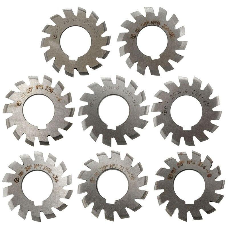 Module 1 PA20 Degrees Bore 22mm #1-8 HSS Involute Gear Milling Cutter High Speed Steel Gear Milling Cutter Gear Cutting Tools