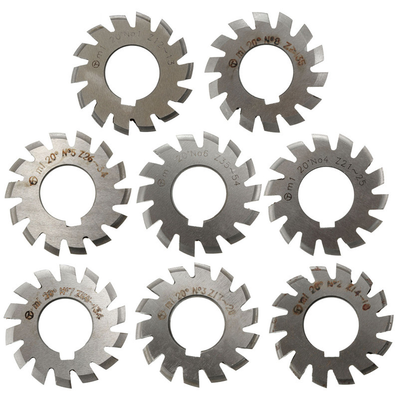 Module 1 PA20 Degrees Bore 22mm #1-8 HSS Involute Gear Milling Cutter High Speed Steel Gear Milling Cutter Gear Cutting Tools diameter 22mm m2 20 degree 2 involute module gear cutters hss high speed steel new machine tools accessories