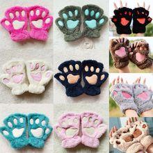 Women Girls Lovely Cat Paw Claw Thick Half Fingerless Gloves Fluffy Plush Mitten winter gloves