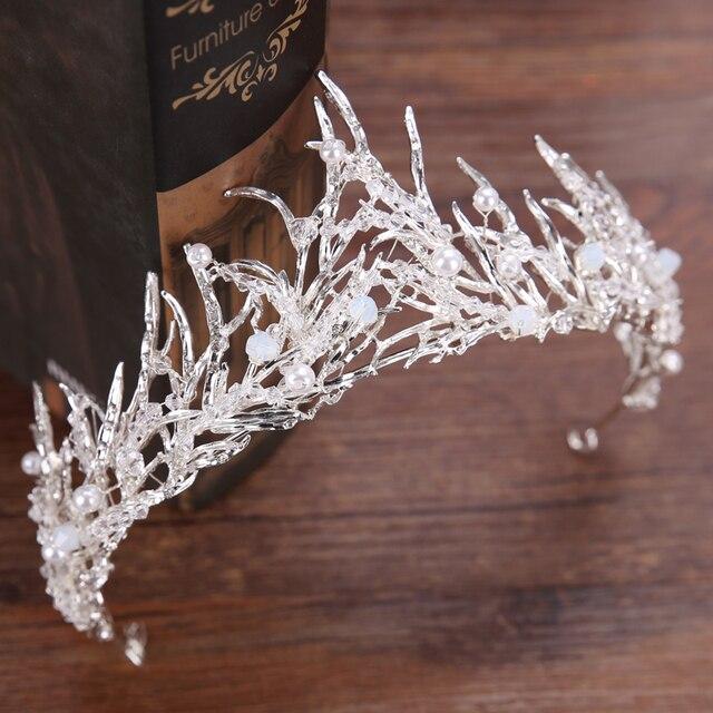 Diverse Argento Cristallo Sposa tiara Crown Perla di Modo Della Regina Corona Nuziale Copricapo Da Sposa Capelli Accessori Dei Monili All'ingrosso