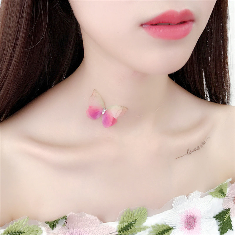 Gs New Fashion Design Colorful Beautiful Crystal 3d Yarn Butterfly Necklaces For Women Invisible Fishline Silk Neck Chokers R4 Catalogues Will Be Sent Upon Request