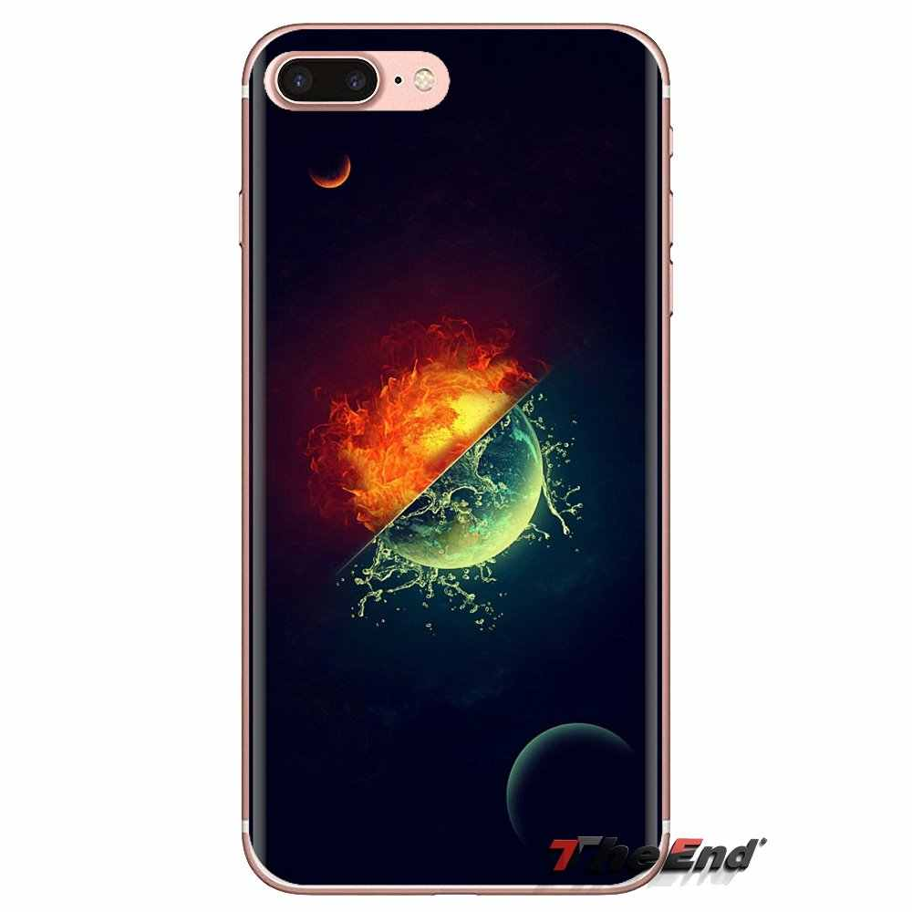 Transparente TPU caso para LG G3 G4 Mini G5 G6 G7 Q6 Q7 Q8 Q9 V10 V20 V30 X Power 2 3 K10 K4 K8 2017 de agua y fuego art Wallpapers