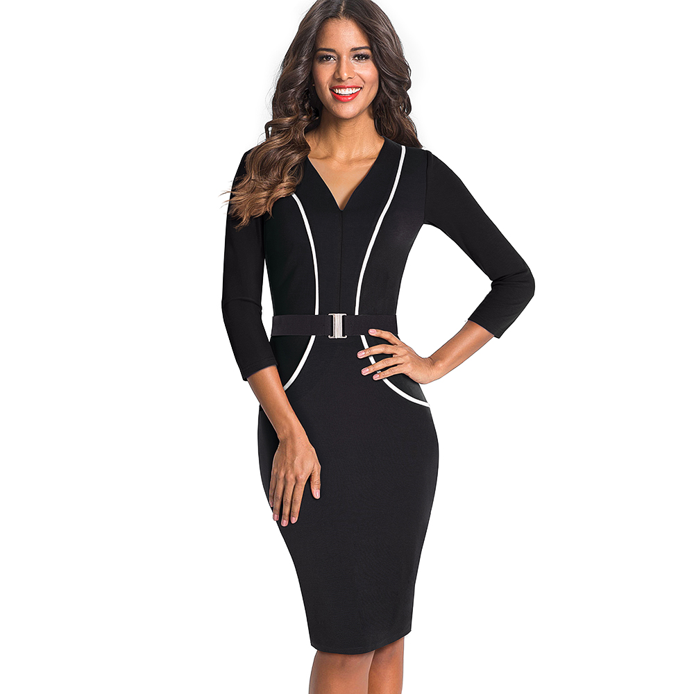 OUFANGMEIYI Store Women Elegant Optical Illusion Patchwork Contrast Slim Casual Work Office Business Belted Party Bodycon Pencil Dress EB414