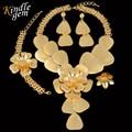 2017 Новый Большой Макси Ожерелье Uinque Дубай Африканский Комплект Ювелирных Изделий Для Женщин Элитная Позолоченные Костюм Ювелирные Изделия Parure
