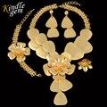 2017 Nueva Gran Maxi Collar Set Uinque Dubai Africana Sistema de La Joyería Para Las Mujeres de Lujo Oro Verdadero Plateó La Joyería de Traje Parure