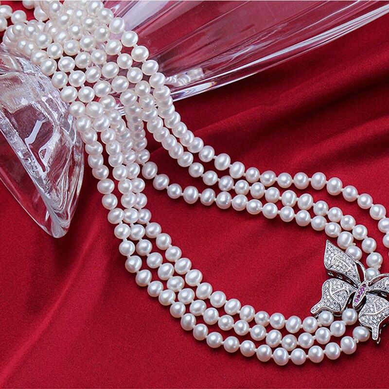 RUNZHUQIYUAN 2017 100% collier long de perles d'eau douce naturelles 5-6mm bijoux en argent véritable perle pour les femmes meilleurs cadeaux pour les filles - 4
