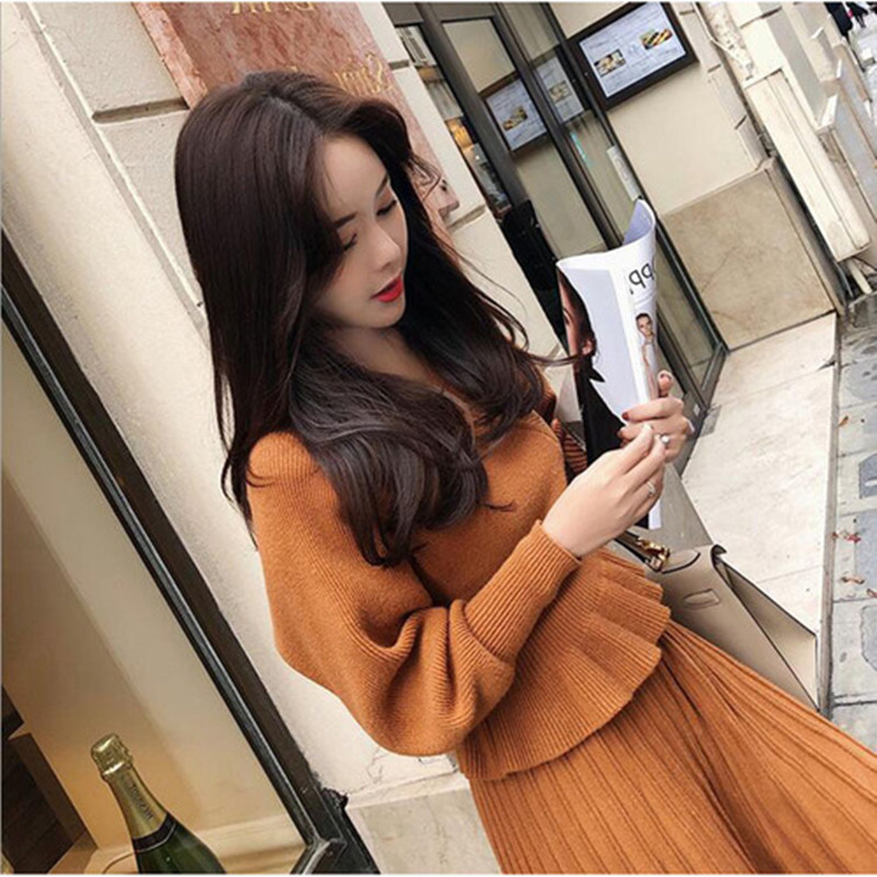 ZAWFL 2019 New Autumn Winter Fashion Women's Back Hollow Knit Vest Jacket + Long Knit Dress Two Pieces Ladies Sweater Suit