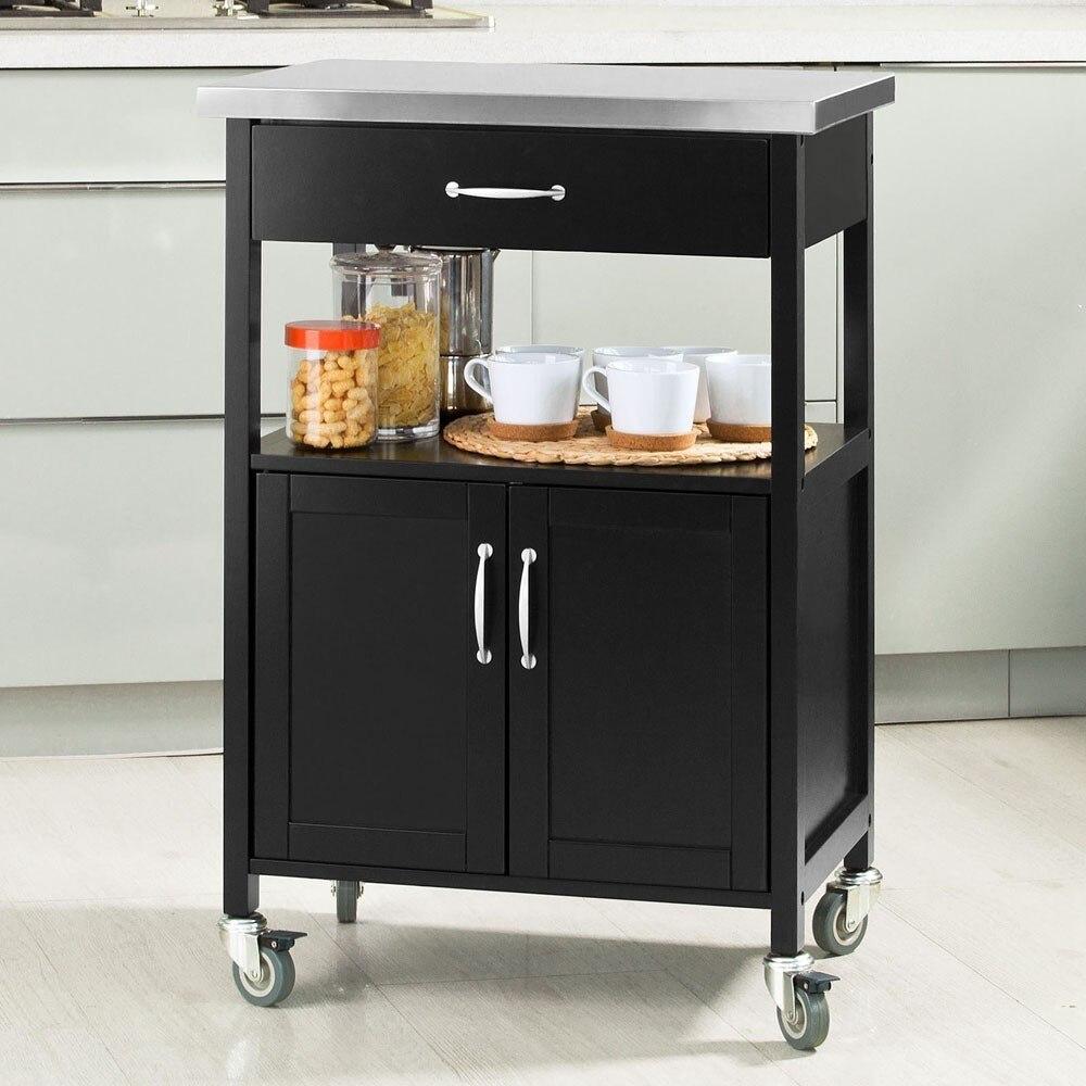 SoBuy FKW22-SCH,Kitchen Cabinet Kitchen Storage Trolley Serving Trolley With Stainless Steel Top