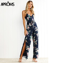 79ea92bbdea2 Aproms Cute Floral Print Navy Jumpsuits Womens Sexy V-neck High Side Splits Rompers  Summer