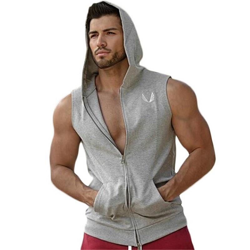 2016. gada jaunais zīmols Stretchy bezpiedurkņu krekls ikdienas modes kapuci vingrošanas zāle top vīriešu kultūrisms fitnesa apģērbs
