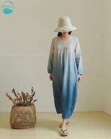 LinenAll оригинальные женские завод краситель удобные литературы и искусства 100% лен платье халат