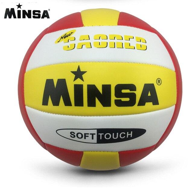 MINSA venta al por menor 2017 nueva marca MVB-001 pelota de voleibol táctil suave, size5 de alta calidad de voleibol libre con bolsa de Red + aguja