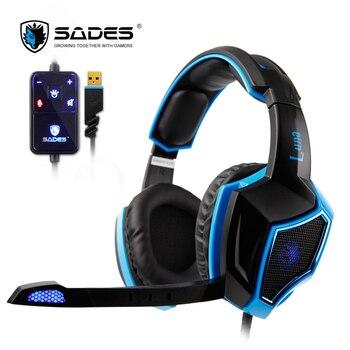 SADES LUNA Virtual 7.1 Surround Sound headphones USB Plug Gaming Headset Headphone for PC