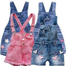 От 2 до 11 лет, летний детский комбинезон для маленьких девочек, шорты, джинсовые комбинезоны, джинсовые шорты, хлопковые джинсовые комбинезоны
