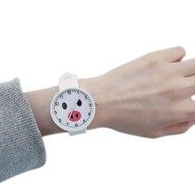 Высокое качество модные силикона студент часы девушки часы детей наручные часы мультфильм Дети Кварцевые часы Карамельный цвет
