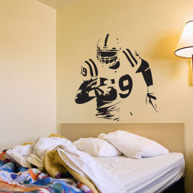 Wall Art Football Wall Decal Decor Custom Vinyl Sticker American Football  Player Personalzied Decal
