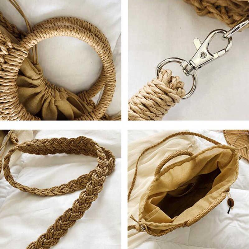 Bolsos de paja para mujer bolsos de playa de verano bolsos de hombro casuales Vintage Bolsos De Mujer de alta capacidad bolsos de mano de forma ovalada