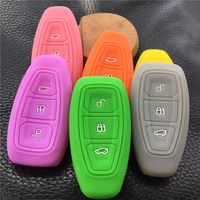 De goma de silicona coche caso clave para Ford Focus 3 MK3 ST RS Ecosport Kuga Nuevo fiesta Fiesta se Mondeo3 botones llave inteligente