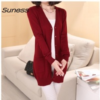Hot Sale 2017 Spring Cashmere Cardigan Female Medium Long Wool Sweater Women Loose Long Sleeve Plus