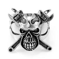 Jewelry 2015 New Stainless Steel Skull Crossbones Ring Wrench Mens Engagement Wedding Band Cool Punk Style