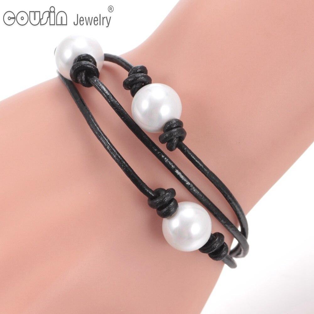 Neuheiten Heißes Verkauf Perlenlederarmband viele Arten Nachgemachte echte lederne Schnur der Perle handgemachte Perlenschmucksachen SZ0371a / b