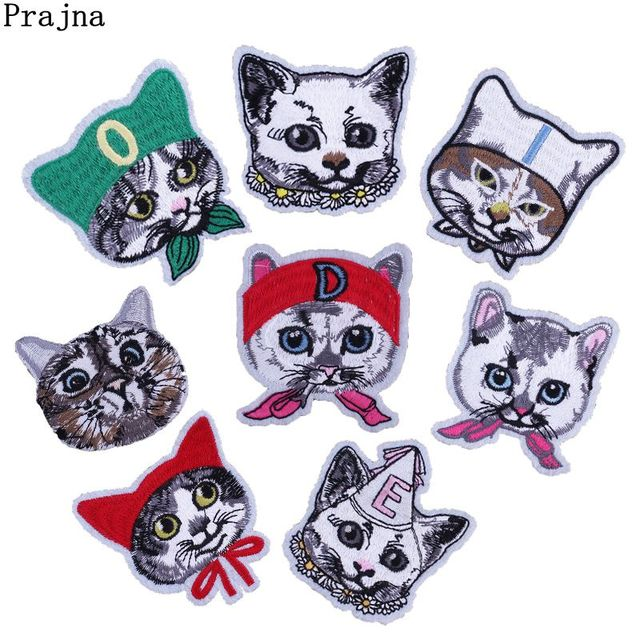 Prajna DIY Fashion Patches Fighting Cats Woman Embroidered Badges Iron On Patch Sew Accessories Cute Clothing DIY Appliques PSG