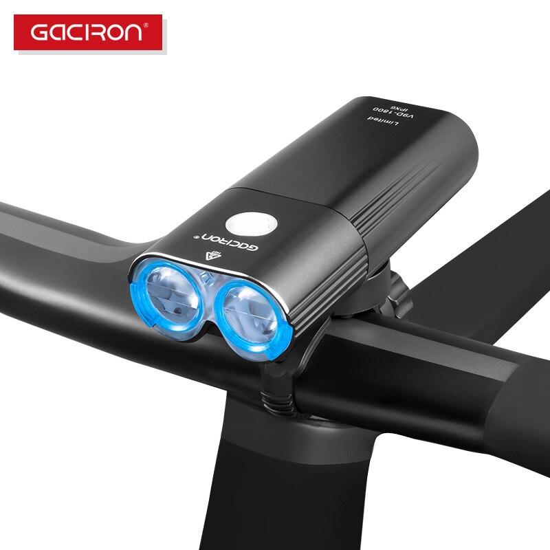 GACIRON 1800 lumen Luzes Da Bicicleta Da Bicicleta Ciclismo LED IPX6 Farol À Prova D' Água Interruptor Remoto Luz USB Recarregável Luzes Dianteiras