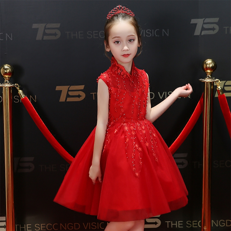 Summer New Elegant Toddler Baby Wedding Birthday Party Red Color Princess Dress Children Girls Ball Gown Casual Costume Dress цена