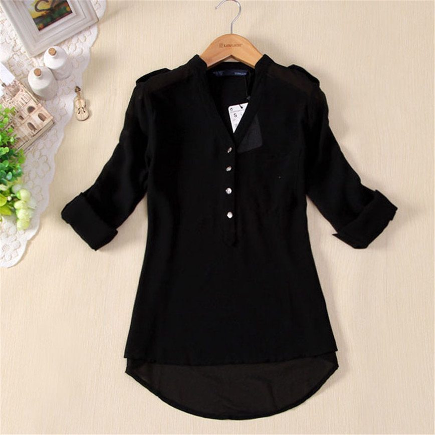 Elegant Tops Buttons Pocket Spring Blouse Women V-Neck Long-Sleeve Free-Ostrich Femme title=
