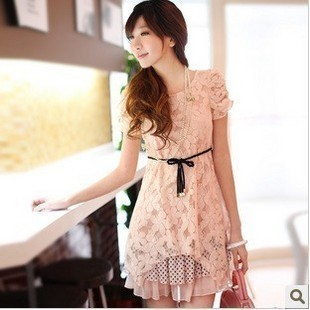 2013 women's elegant slim lace sweet full dress short-sleeve chiffon one-piece dress