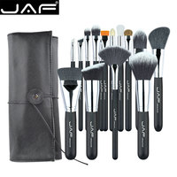 JAF 15 PCS SET Professional Makeup Brushes With Adjustable Leather Case Portable Holder Suitable For Travelling