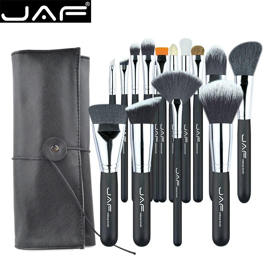JAF 15 PCS/ENSEMBLE Professionnel Maquillage Brosses avec Réglable Étui En Cuir Portable Support Approprié pour Voyager Super J1531YC-B
