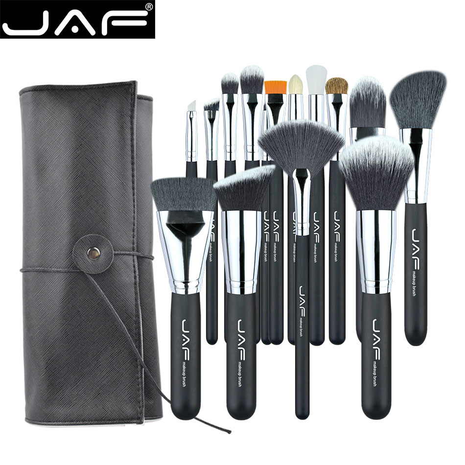JAF 15 PCS/SET Professional Makeup Brushes with Adjustable Leather Case Portable Holder Suitable for Travelling Super J1531YC-B leather makeup brushes holder case empty storage tube case for makeup brushes container dispaly stand cup container solid case