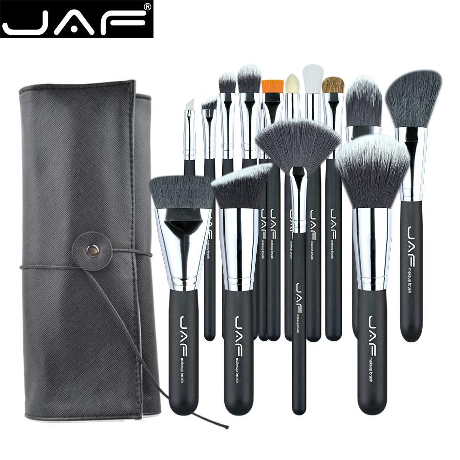 JAF 15 PCS/SET Professional Makeup Brushes with Adjustable Leather Case Portable Holder Suitable for Travelling Super J1531YC-B