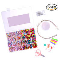 720 Pieces Kids DIY Bracelet Necklace Beads Jewelry Making Colorful Craft Acrylic Beads with Bonus Accessories for Girls Gift