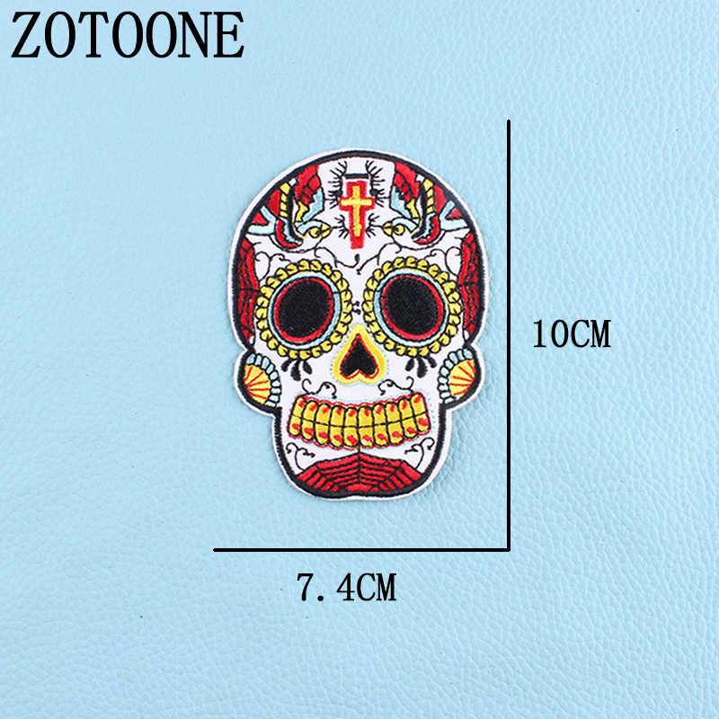 Zotoone 1 Pcs Bordir Sugar Skull Patch Besi Pada Patch untuk Pakaian Stiker Di Pakaian Dekorasi Bordiran Band Punk Rock C